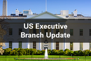 US executive branch text over image of White House